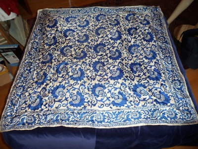 Vintage Silk Scarf From INDIA by HANDCRAFT INC - 34 X 34 - Stunning Blue