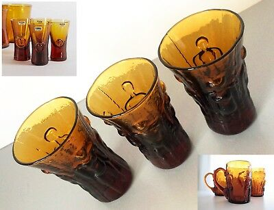 RARE 1960's ERIK HOGULND for BODA Sweden 3 x FIGURAL AMBER DECANTER GLASSES