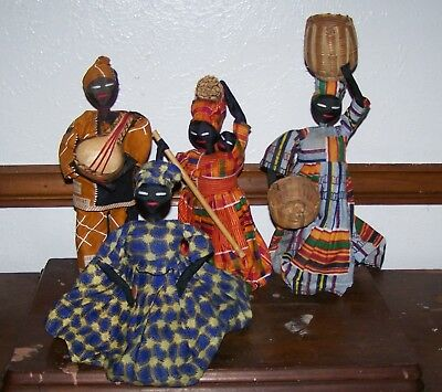 Vintage African Tribal Rag Doll Family - Colorful Decor with Reed Baskets