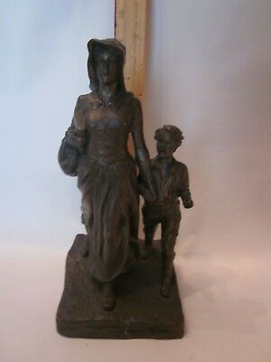 Jennings Brothers Signed BRYANT BAKER 1927 spelter statue pioneer lady bible boy