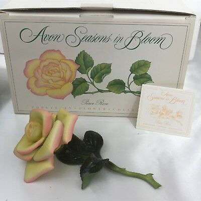Vintage 1987 Avon Seasons in Bloom Yellow Peace Rose Porcelain Flower Collection