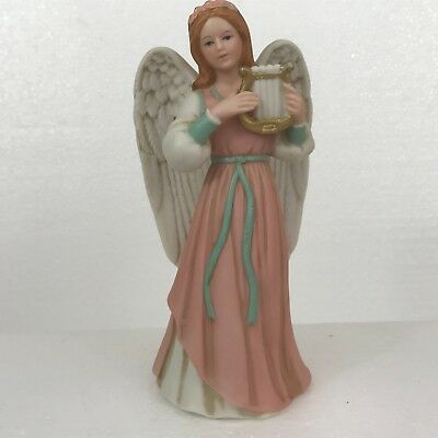 Vintage Homco Home Interiors Angel With Harp in Pink Heavenly Duet #1422 Retired