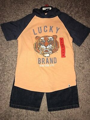 Boys Size 6 Lucky Brand Hooded Shirt And Jean Shorts 2 Piece Set