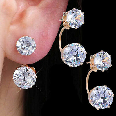 Luxury Women Drop Ear Studs Double Side Rhinestone Ear Jacket Earrings Gift EP_