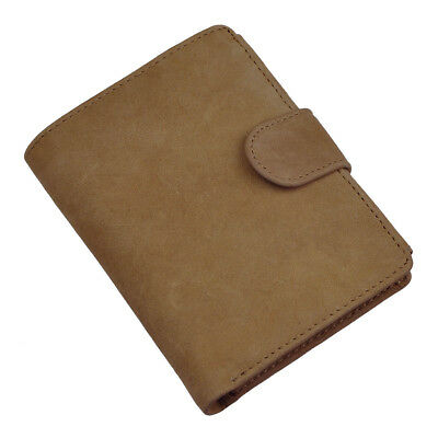 Mens Genuine Leather Real Bifold Snap Card Coin Case Wallet Purse Large Capacity