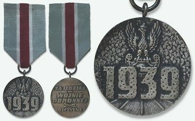 2935 POLAND POLISH WWII MEDAL FOR PARTICIPATION IN THE WAR OF DEFENSE 1939 orig