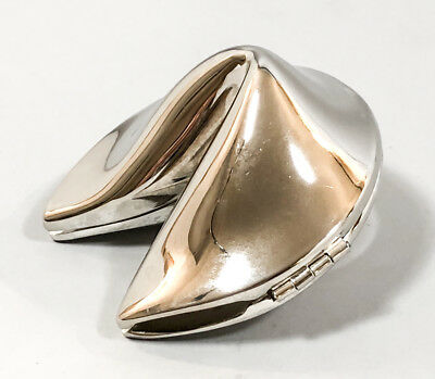 Vintage silver plate fortune cookie hinged box trinket novelty miniature retro