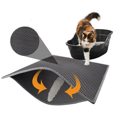 Waterproof Double-Layer Cat Litter Mat Trapper Foldable Pad Pet Rug Home Grey