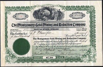 Montgomery Gold Mining And Reduction Co, Boulder, Ward, Co., 1902, Uncancelled S