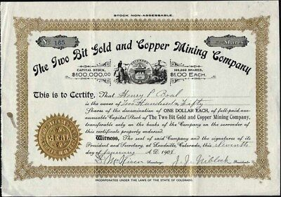 Two Bit Gold And Copper Mining Co, 1903, Leadville, Co, Uncancelled Stock Cft.