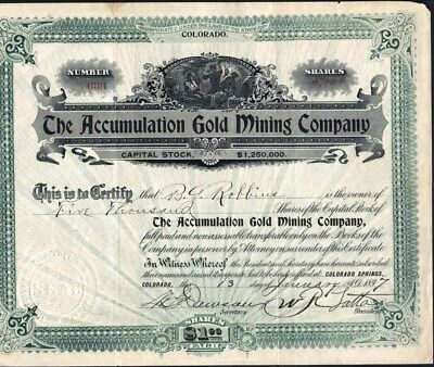 Cripple Creek, Co, Accumulation Gold Mining Co, 1897, Uncancelled, Stock Cft.