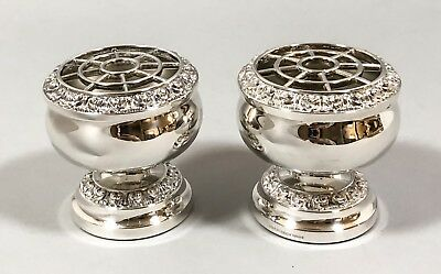 Vintage silver plate pair 2 small rose bowl vases high-relief floral rim Ianthe