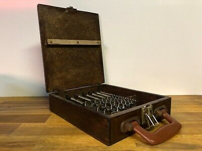 Vintage Stanley Australia Auger Drill Tool Bit Set In Wooden Carry Case Box