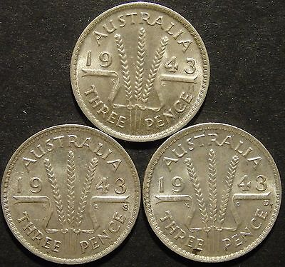 1943, 1943 S, 1943 D 3d(LotE10166166604)Free Postage