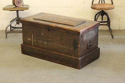 Early Antique Industrial Primitive Woodworkers Tool Trunk Box Coffee Table Chest