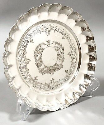 Vintage silver plated fluted decorative bowl trinket dish engraved scroll ornate