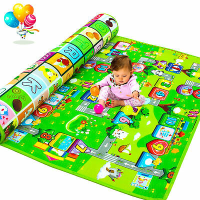 Kids Crawling 2 Side Soft Foam Educational Game Play Mat Picnic Carpet 150X180Cm