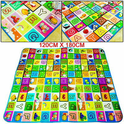 Kids Crawling 2 Side Soft Foam Educational Game Play Mat Picnic Carpet 120*180Cm