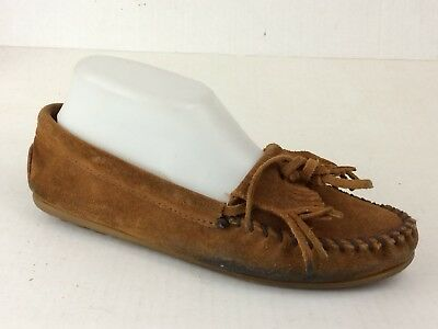 Minnetonka Brown Suede Leather Moccasin Shoe Wmns 7 M Slip On Loafer Flat Fringe