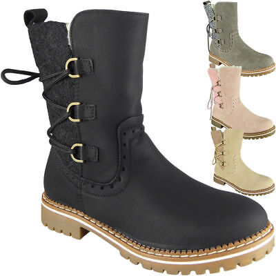 Ladies Zip Ankle Lace Up Faux Fur Lined Boots Casual Winter Shoes Sizes
