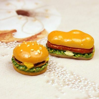 5Pcs/set 1:12 Miniature Simulation Resin Hamburger Food Toy Dollhouse Mini Decor
