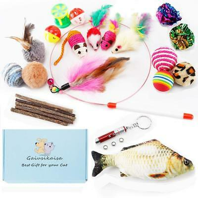 Cat Toys Variety Pack for Kitten, 23Pcs, Cat Teaser Wand,Interactive Feather Toy