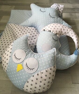 Set Of 3 Cushions Owl Moon Star + Play Mat For Teepee Handmade Made To Order