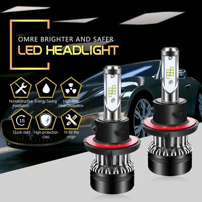 TURBOSII D6 H13 9008 LED Headlight Bulbs 6000LM 6500K High/Low Beam
