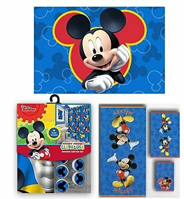 Disney Shower Curtain Hooks And Bath Towel Memory Foam Mat Mickey Mouse 17 Set