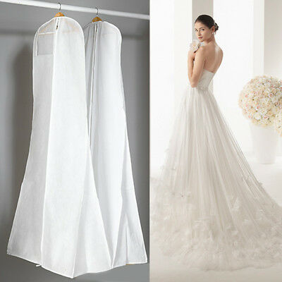 Wedding Dress Gown Frock Garment Dust Cover Bag Protector Storage Carry Zipper