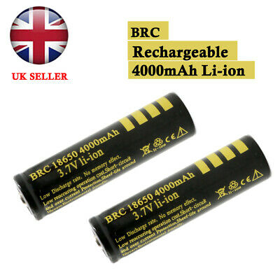 4/2/1x 18650 4000mAh BRC 3.7V Rechargeable Li-ion Battery PCB Protected UK STOCK