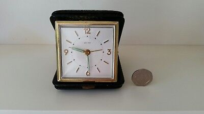 Small Vintage Brass Estyma Travel Clockwork Alarm Clock Working Made in Germany