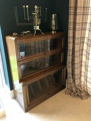 Barristers Bookcase waterfall front 3 glass door sections Globe Wernicke style