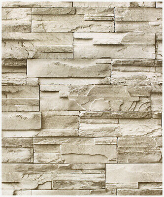 Peel and Stick Faux Stacked Stone Wallpaper Taupe/Tan Brick Self Adhesive Paper