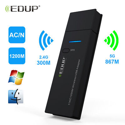 1200Mbps USB Wireless WiFi LAN Network Receiver Card Adapter For Desktop PC