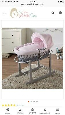 Clair De Lune moses basket Pink And Grey New