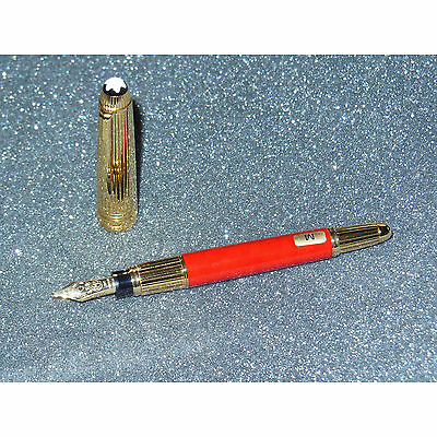 Montblanc Meisterstuck W.A. Mozart Solitaire Fountain Pen Red Coral/Gold M Nib