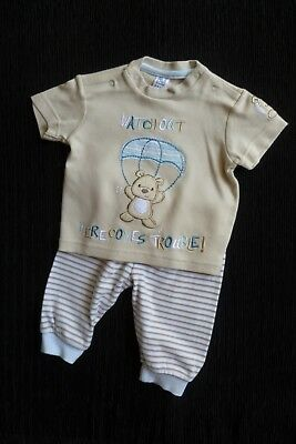 Baby clothes BOY 3-6m outfit TU beige,blue,white bear SS top/soft cuff trousers