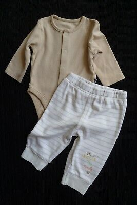 Baby clothes BOY 3-6m outfit Disney Pooh stripe soft cuff trousers/LS bodysuit