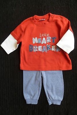 Baby clothes BOY 3-6m outfit M&S soft cuff blue trousers/LS red,blue top C SHOP!