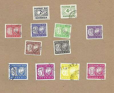Rhodesia: Postage Due.1965-1970. 12 diff used (one seems uncancelled)  (Ref 155)