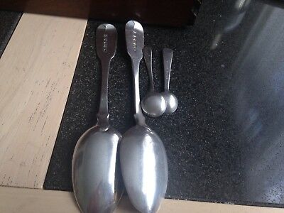 Two Georgian1827 HM silver table spoons plus Two condiment spoons