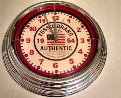 NEW Fossil Company Store Neon Wall Clock - 1954 American Flag Classic