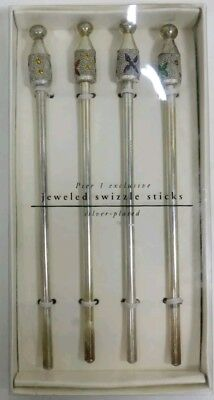 TWO New Boxes of Swizzle Sticks Silver Plated Pier One Jeweled • 8 Sticks total