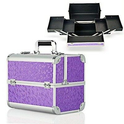 Extra Large Make Up Organiser Beauty Box Vanity Case Cosmetics Storage Purple