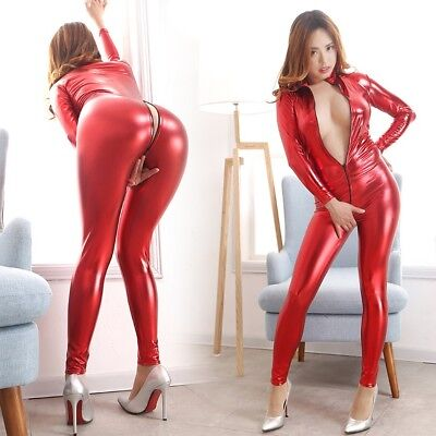 Gothic Domina Latex Catsuit, Latexcatsuit, Latexanzug, Overall, Rot, Gr. M, Neu