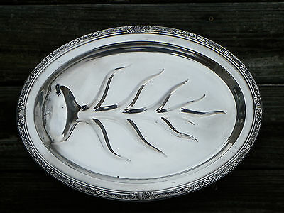 "Vtg 15 1/4"" Silverplate Footed ""Tree"" Meat Platter Or Tray-Reverie-Crown #4275"