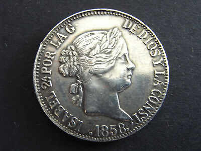 Spanien 10 Reales 1858 ss Ag