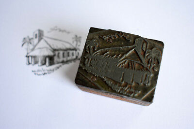 Vintage letterpress printing plate, mounted on wood block.Thatched chapel. Adana