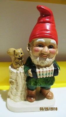 Vintage HOMCO Elf Gnome Figurine Playing Music with Squirrel